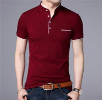 Mandarin Collar Polo Shirt. 6 colors available