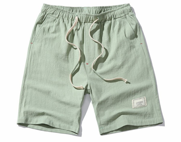 Cotton Linen Shorts. Beige/Black/Navy/Light blue/Light green
