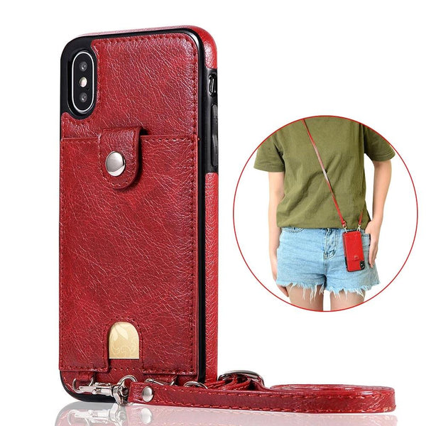 Fashion Neck Strap Card Case for iPhone XS Max XR XS X 8 7 6s plus Samsung Galaxy S10 S9 S8 plus S10e Note 10 plus 9 8 PU Cover