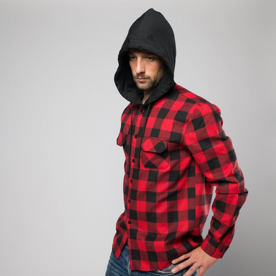 Red Plaid Hooded Shirt
