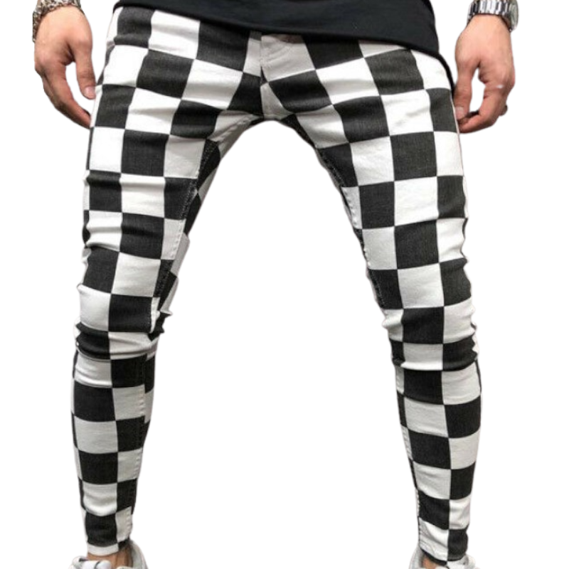 Black and White Slim Fit Pants
