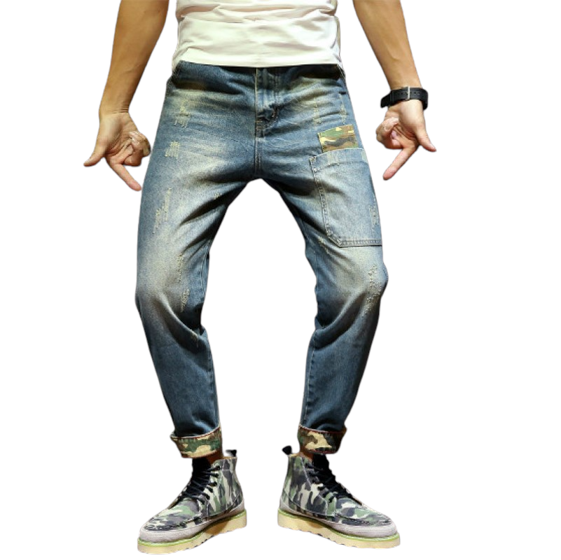 Stretchy Camouflage Detailed Jeans