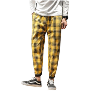 Yellow Checkered Slim Fit Joggers