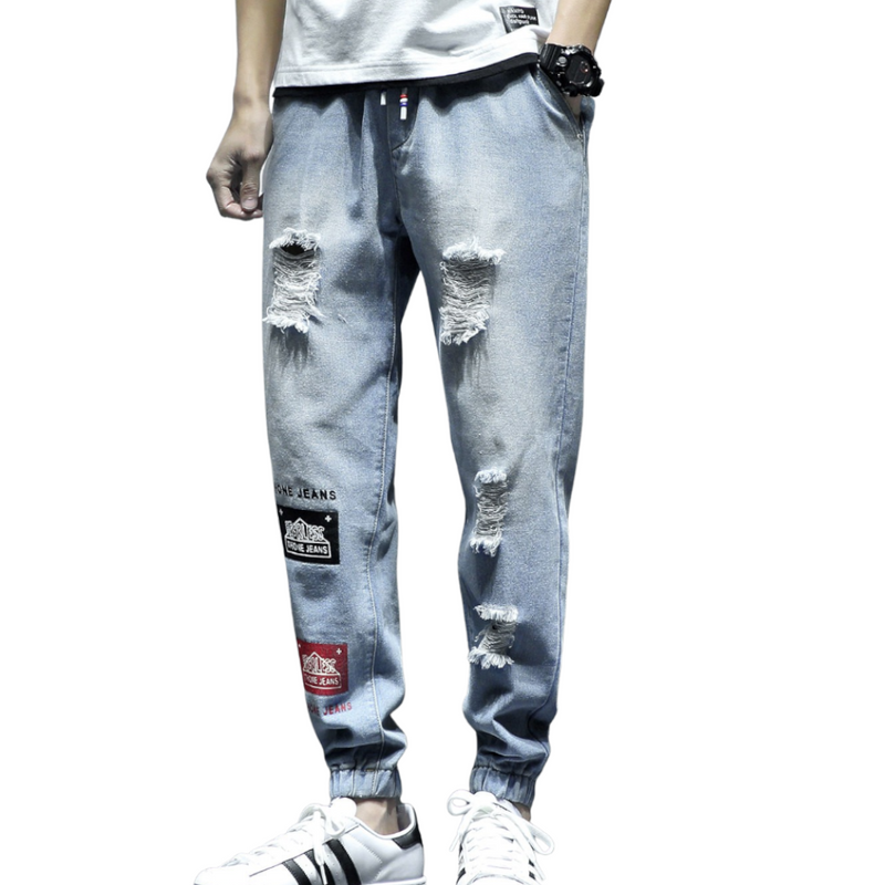 Patched Ripped Denim Joggers