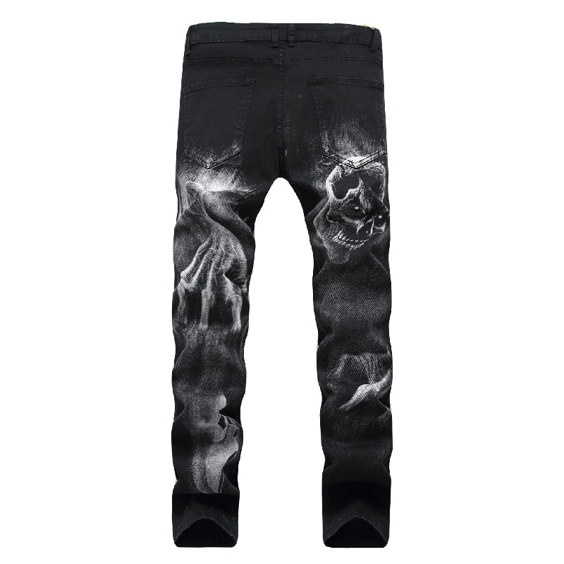 Skull Printed Straight Jeans