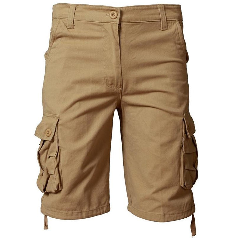 Solid Multi-Pocket Cargo Shorts
