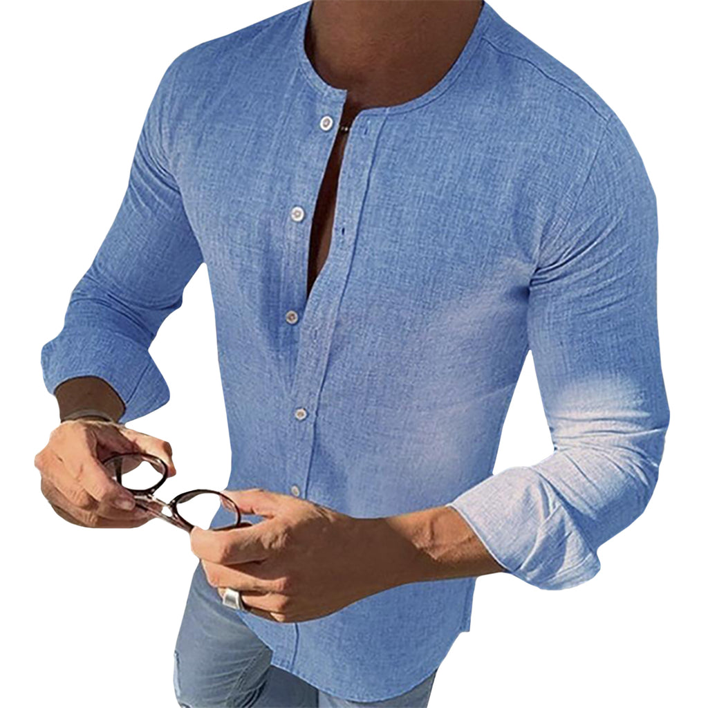 Light O-Neck Button-Down Shirt