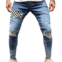 Patchwork Plaid Skinny Jeans