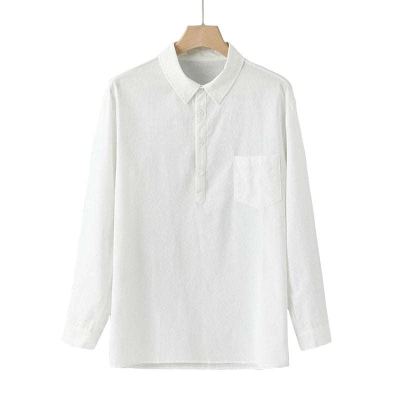 Summer Solid Linen Blend Shirt