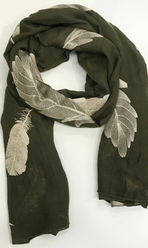 Hand Embroidered Scarf -Army Green - FEATHERS/ LEAF/LEAVES /Print Women Scarves / Gifts For Her / Accessories/ Handmade