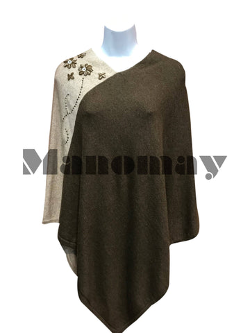 Handmade  Cashmere Poncho - Light & Dark BROWN colour/ FLORAL embedded on side