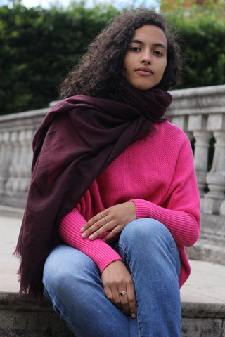 100% Superfine  2ply pure Cashmere Scarf - Maroon  colour / for both / men/ women/loved by all age