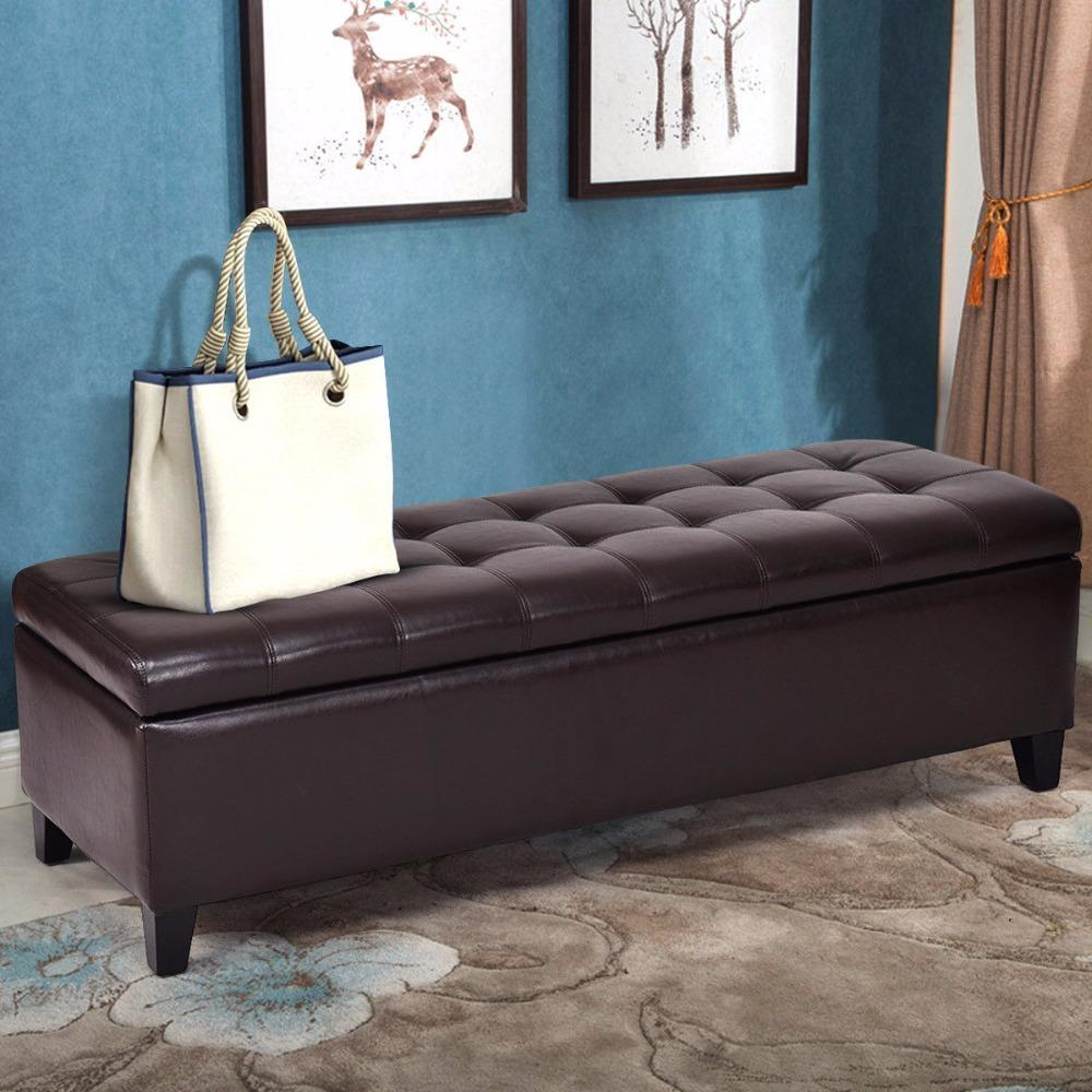 Pacific Pike -  51'' Storage Ottoman  -  Black Leather  -  furniture