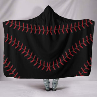 "Pacific Pike -  Black Baseball Hooded Blanket  -  Hooded Blanket / Youth 60""x45""  -  Hooded Blanket"