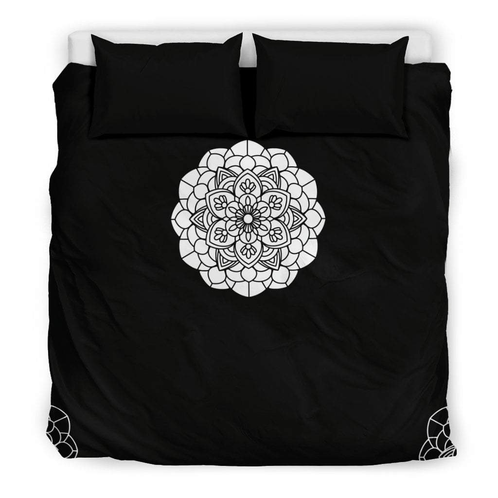 Pacific Pike -  Custom B&W Mandala Bedding Set  -  Bedding Set / US King  -  Bedding Set