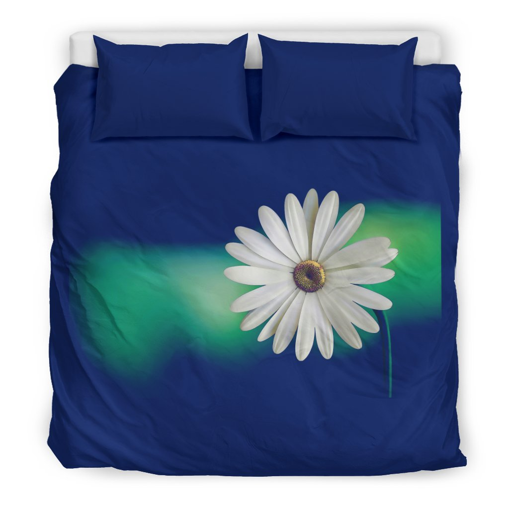 Pacific Pike -  Custom Daisy on Blue Bedding Set  -  Bedding Set / US King  -  Bedding Set