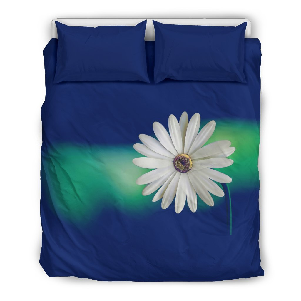 Pacific Pike -  Custom Daisy on Blue Bedding Set  -  Bedding Set / US Queen/Full  -  Bedding Set