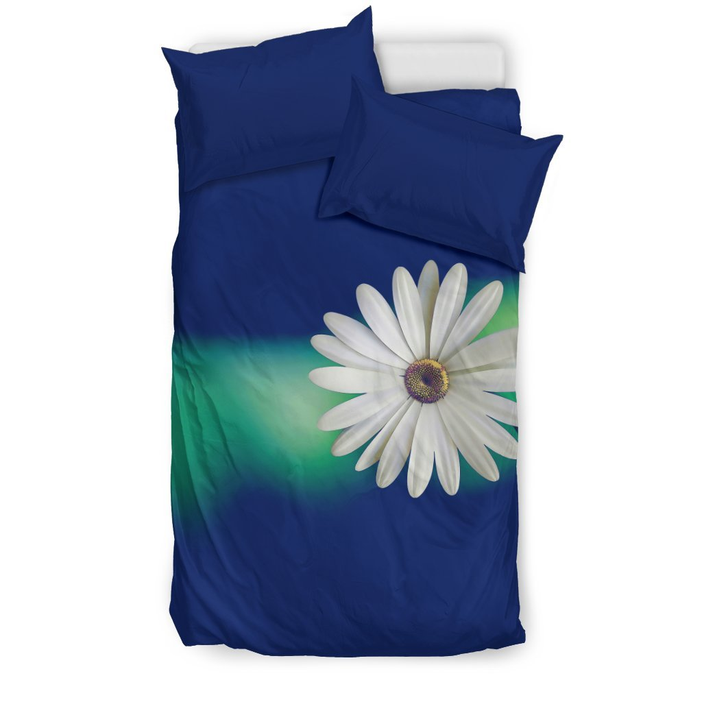 Pacific Pike -  Custom Daisy on Blue Bedding Set  -  Bedding Set / US Twin  -  Bedding Set