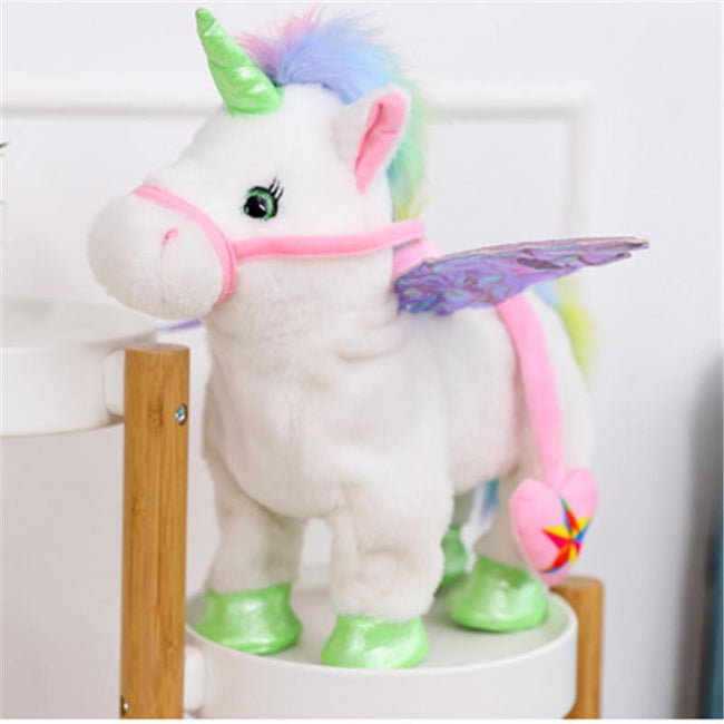 Pacific Pike -  Electric Walking Unicorn Plush Toy  -  White  -  Hidden