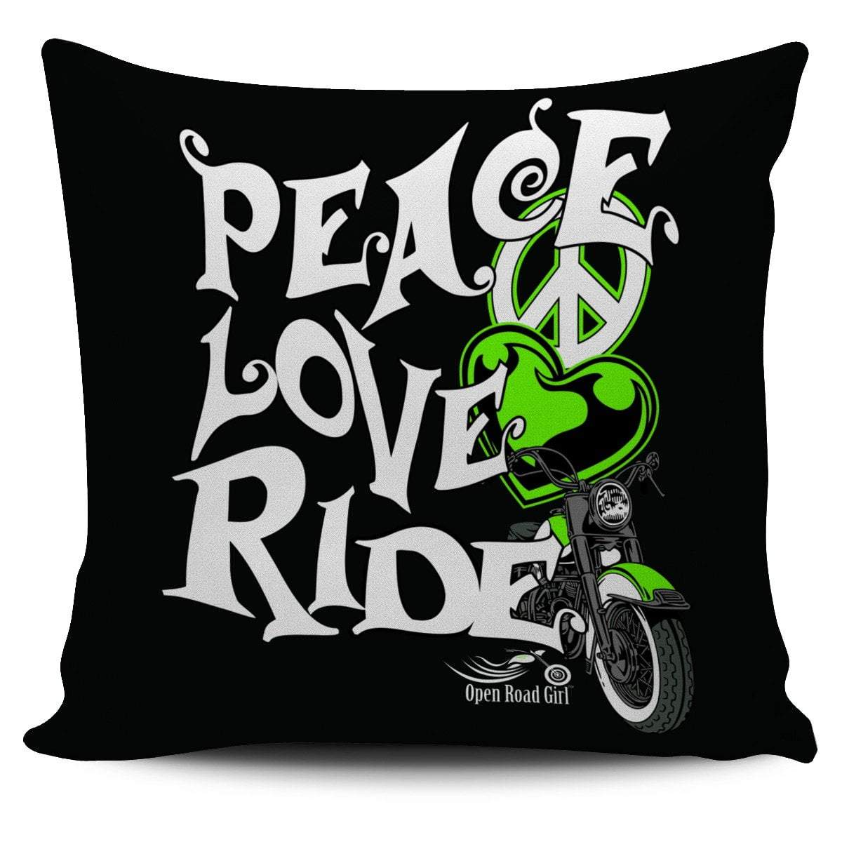 Pacific Pike -  Green Peace Love Ride Pillow Cover  -  Green Peace Love Ride Pillow Cover  -  Bedding Set