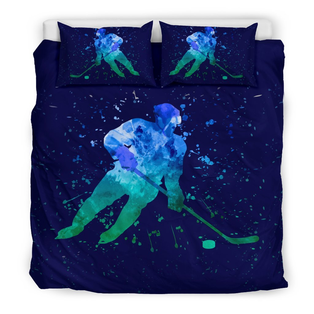 Pacific Pike -  Hockey Blue Watercolor Bedding Set  -  Bedding Set / King  -  Bedding Set