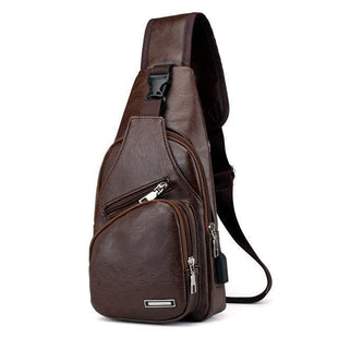 Pacific Pike -  Leather Shoulder Sling Bag (Charging Port)  -  Brown / 34x16x10cm  -