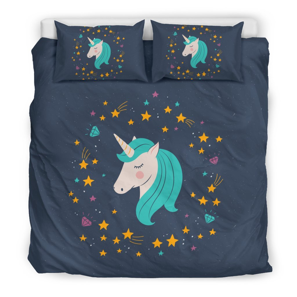 Pacific Pike -  Midnight Blue Starry Night Unicorn Bed Set  -  Bedding Set / King  -  Bedding Set