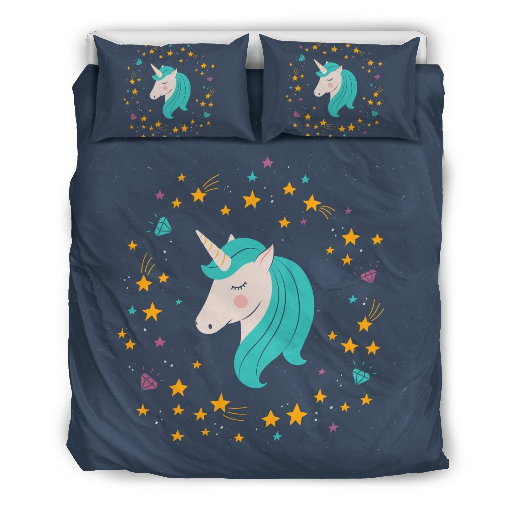 Pacific Pike -  Midnight Blue Starry Night Unicorn Bed Set  -  Bedding Set / Queen/Full  -  Bedding Set