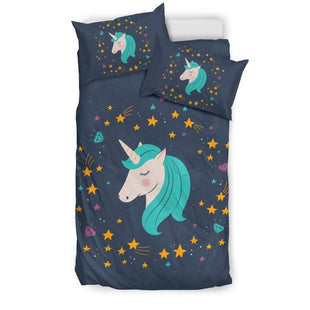 Pacific Pike -  Midnight Blue Starry Night Unicorn Bed Set  -  Bedding Set / Twin  -  Bedding Set