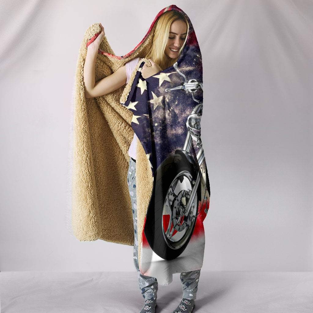 "Pacific Pike -  Motorbike With American Flag Hooded Blanket  -  Hooded Blanket / Youth 60""x45""  -  Bedding Set"