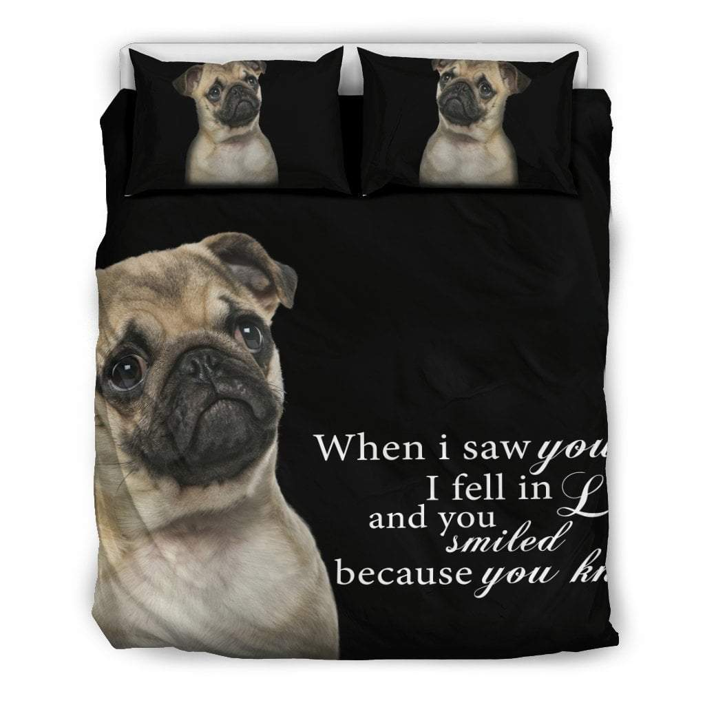 Pacific Pike -  Pug - When i saw you... Bedding Set  -  Bedding Set / Queen/Full  -