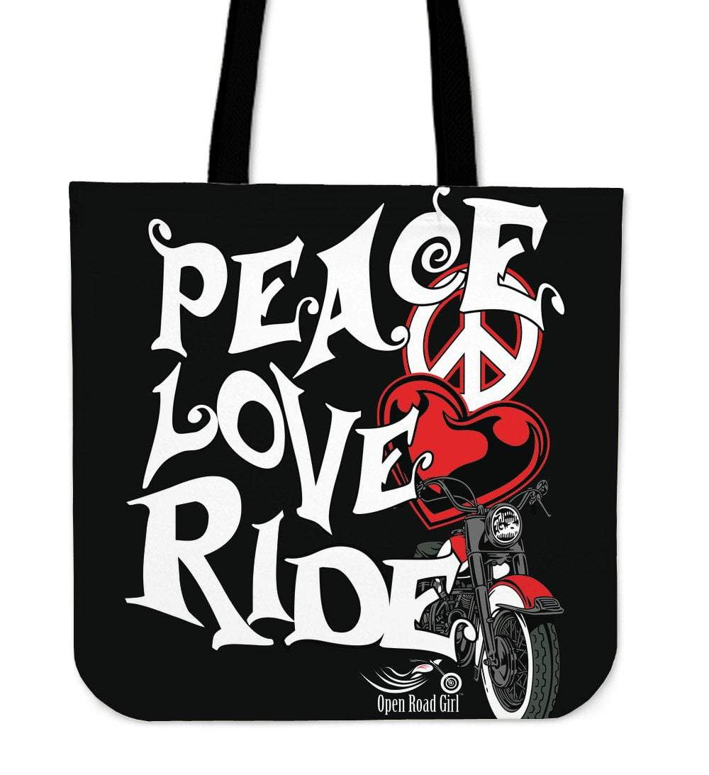 Pacific Pike -  RED Love, Peace, Ride Tote Bag  -  RED Love, Peace, Ride Tote Bag  -  Bag