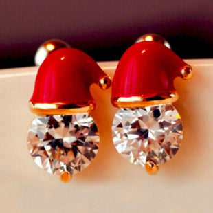 Pacific Pike -  Santa Claus Hat Dangle Ear Studs  -  Gold Accent  -