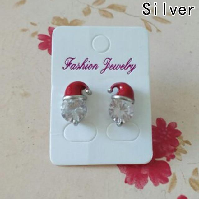 Pacific Pike -  Santa Claus Hat Dangle Ear Studs  -  Silver Accent  -