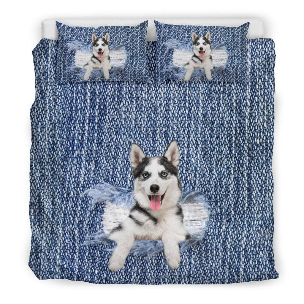 Pacific Pike -  Siberian Husky Break The Wall Bedding Set  -  Bedding Set / King  -