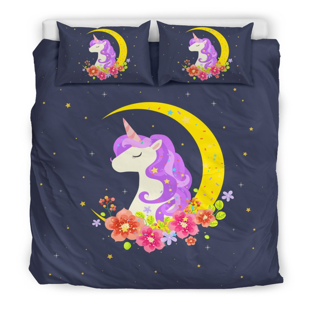 Pacific Pike -  Starry Night Crescent Moon Unicorn Bed Set  -  Bedding Set / King  -  Bedding Set
