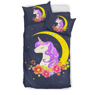 Pacific Pike -  Starry Night Crescent Moon Unicorn Bed Set  -  Bedding Set / Twin  -  Bedding Set