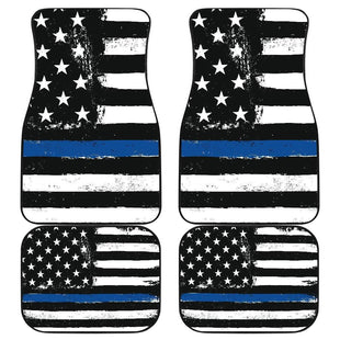 Pacific Pike -  Thin Blue Line Front And Back Car Mats (Set Of 4)  -   -