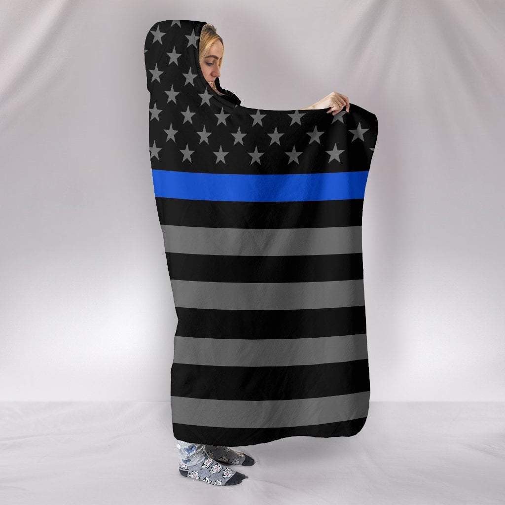 "Pacific Pike -  Thin Blue Line Hooded Blanket  -  Hooded Blanket / Youth 60""x45""  -  Hooded Blanket"
