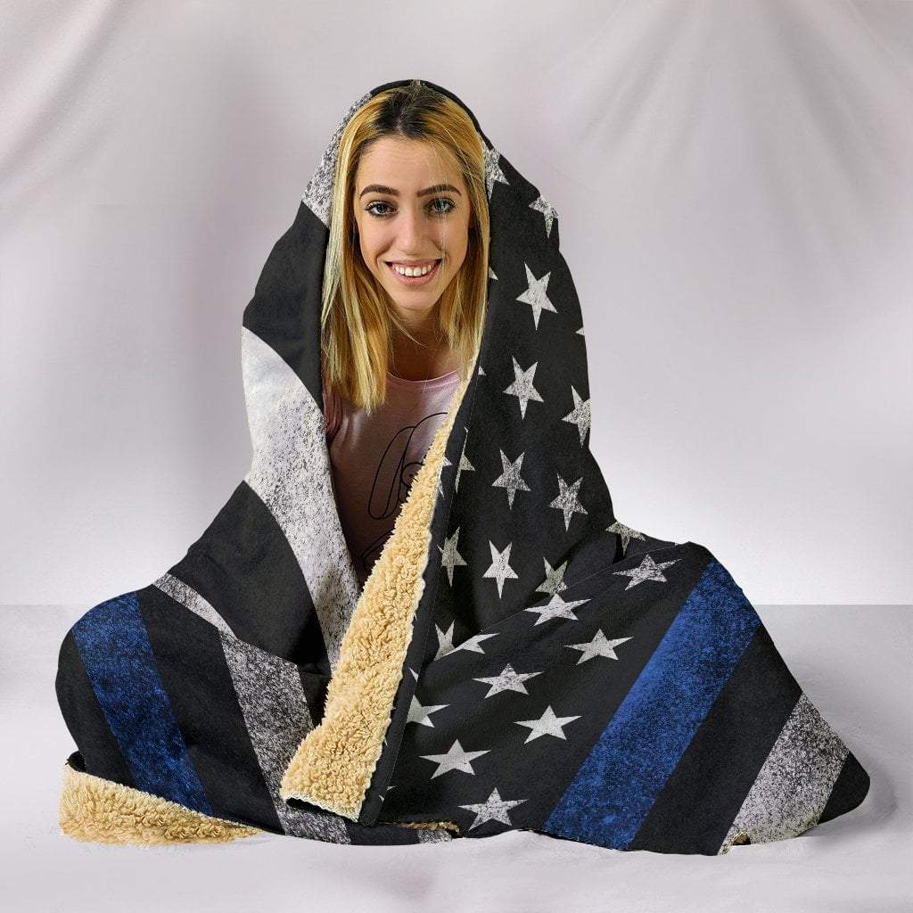 "Pacific Pike -  Thin Blue Line Hoodie Blanket  -  Hooded Blanket / Youth 60""x45""  -  Hooded Blanket"