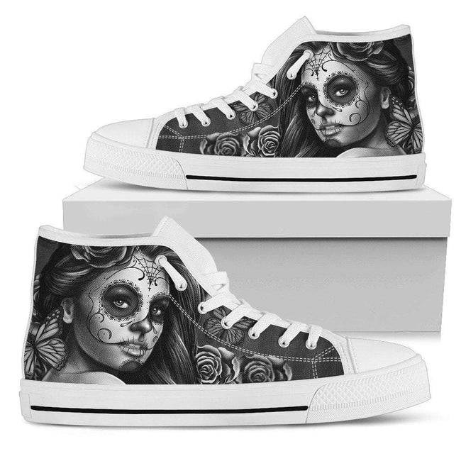 Pacific Pike -  Women's Custom  Calavera White High Tops  -  Women's High Top Shoe / US5.5 (EU36)  -