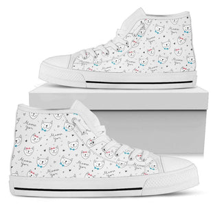 Pacific Pike -  Women's Custom Kitty White High Tops  -  Women's High Top Shoe / US5.5 (EU36)  -
