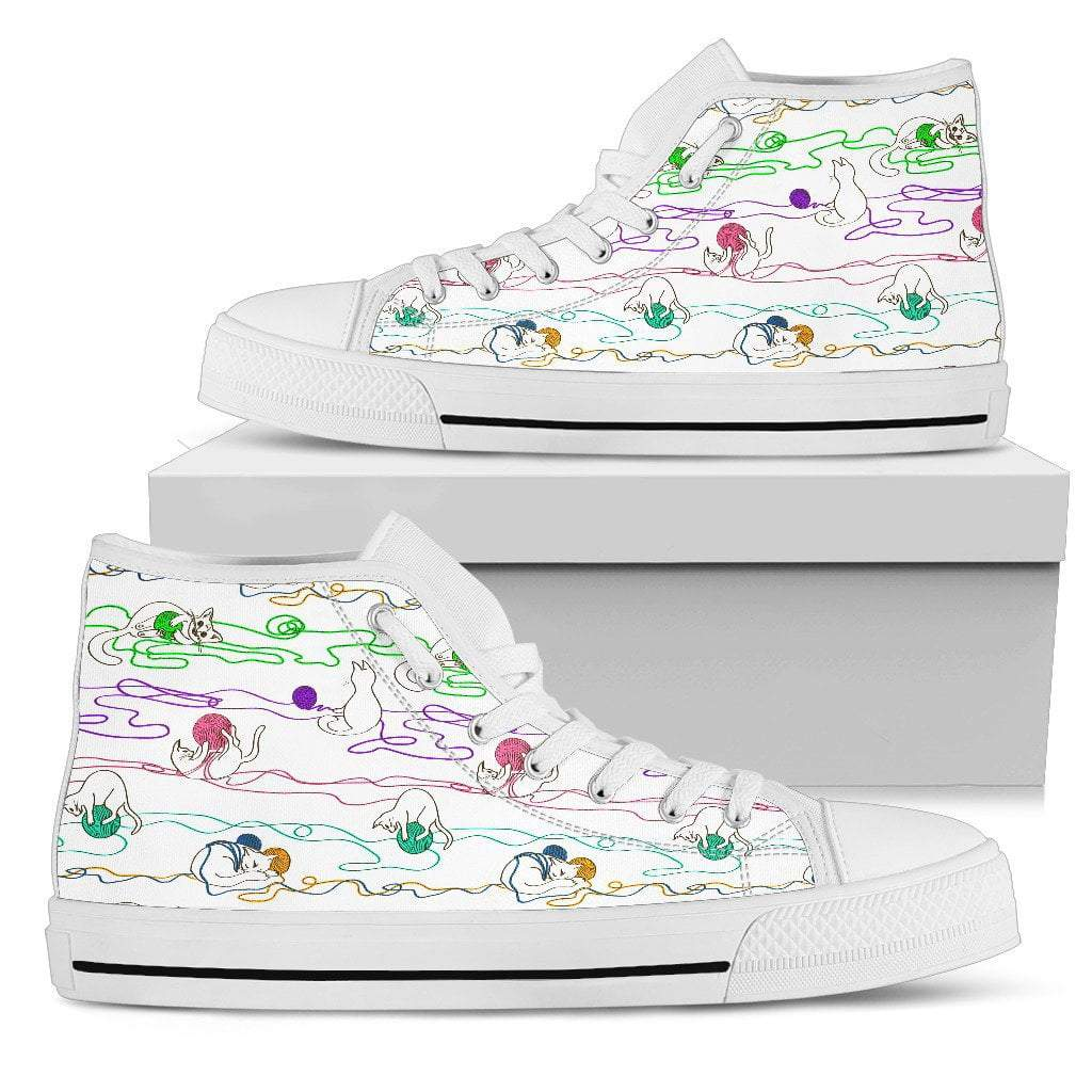 Pacific Pike -  Women's Custom Playful Kitty High Tops  -  Women's High Top Shoe / US5.5 (EU36)  -