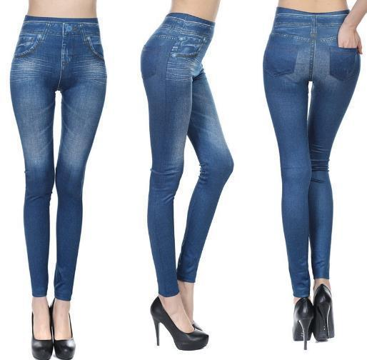 Pacific Pike -  YZZA™ Slimming Jean Leggings (Jeggings)  -  Blue / L/XL  -