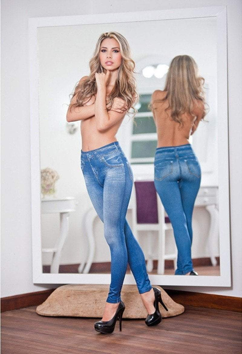Pacific Pike -  YZZA™ Slimming Jean Leggings (Jeggings)  -  Blue / S/M  -