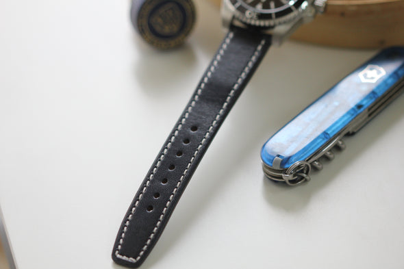 Black Leather Watch Strap (20mm)