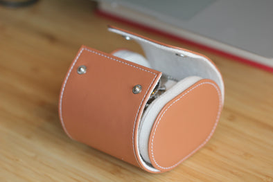 Hand-Made Tan Leather Travel Case For One Watch