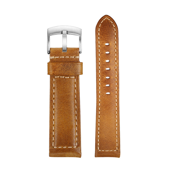 22mm brown hand-made leather strap
