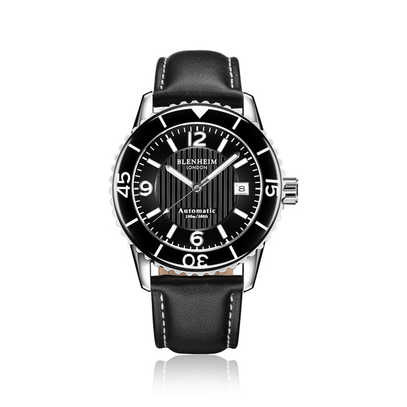 Blenheim London® Navi Pro Arabic Dial With Black leather strap