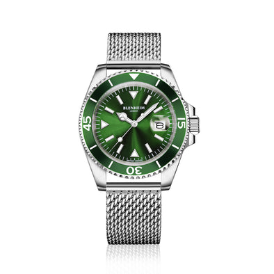 navigator watch green mesh strap
